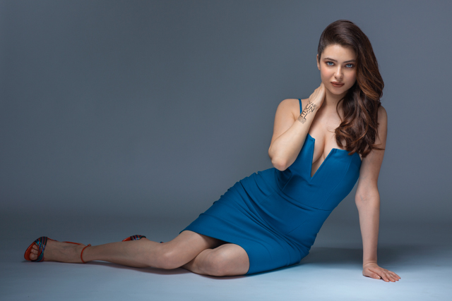 model in blue dress